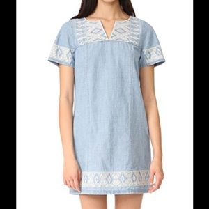 Madewell Embroidered Chambray Tunic Dress size XXS